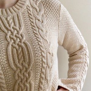 Jeanne Pierre Cream Chunky Cable Knit Sweater